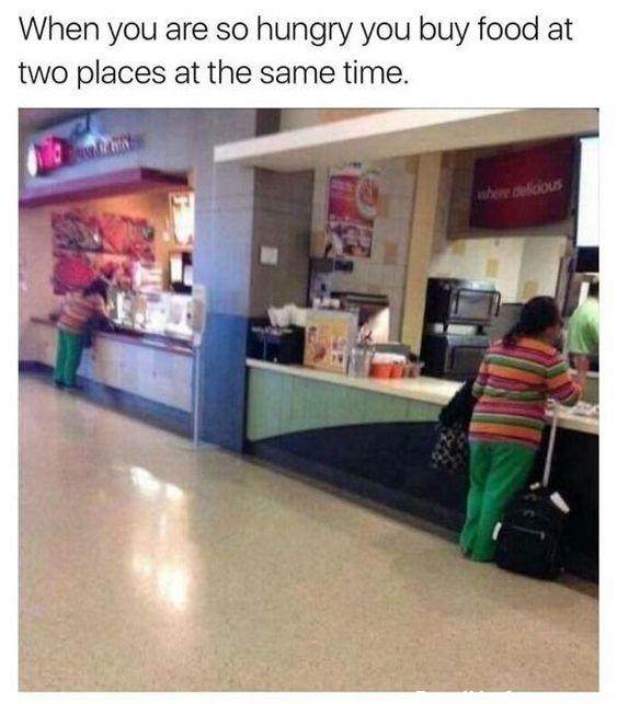 funny glitch in the matrix picture two women in food court wearing identical striped shirt and green pants mall