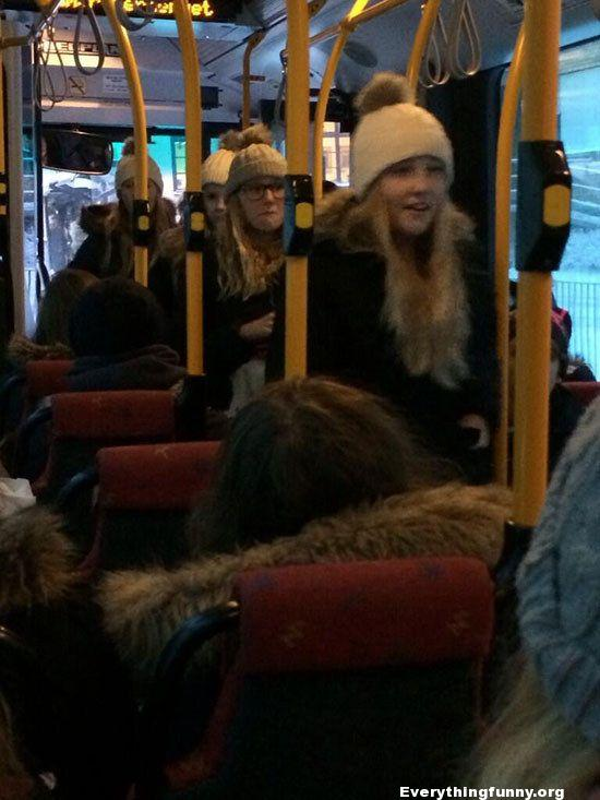 funny glitch in the matrix blond hair and white hat edition 4 girls on bus look identical
