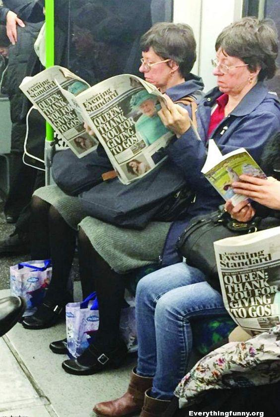 funny glitch in the matrix twin version twins on bus wearing identical clothes reading identical newspapers