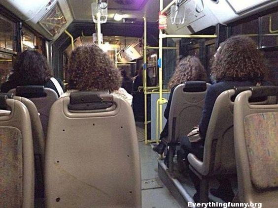 funny photo glitch in the matrix hair edition 4 women same color and hair style on bus