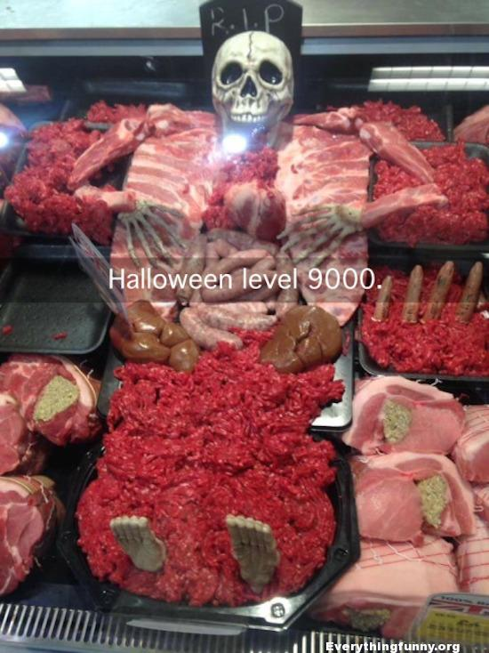 funny photo, funny butcher makes skeleton out of meat, butcher wins halloween, halloween level 9000