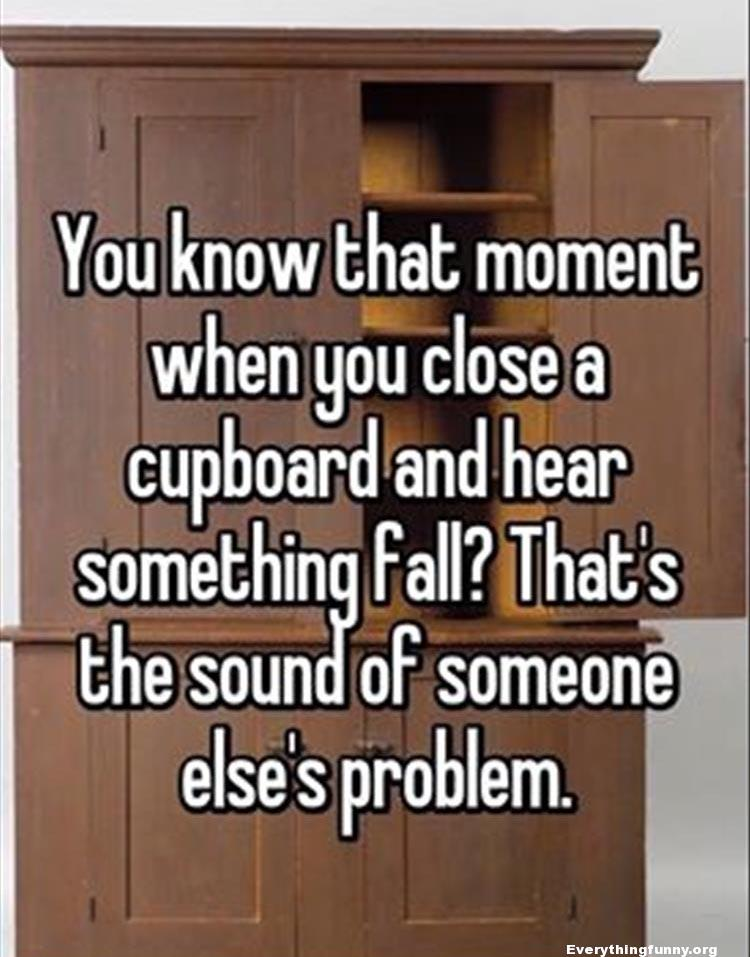funny quote you know that moment when you close a cupboard and hear something fall? That's the sound of someone else's problem.