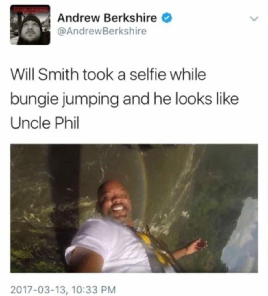 funny post will smith took a selfie while bungie jumping and he looks like Uncle Phil