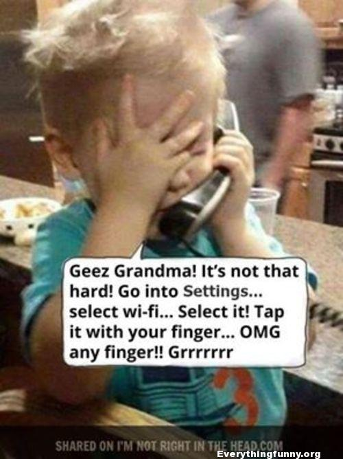 funny caption little boy tries to explain to grandma how to use iphone