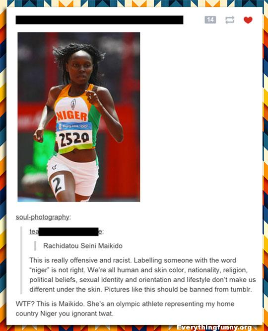 funny post someone gets offended when they misread the country Niger with famous olympic athlete maikido