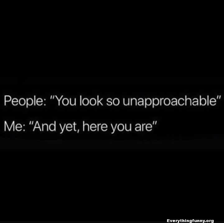 funny quote people you look so unapproachable me: and yet, here you are funny quote, sarcasm, funny sarcastic,