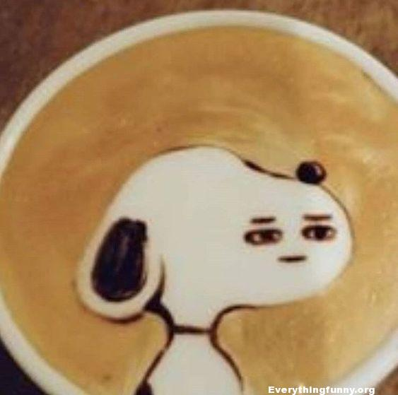 funny cappuccino snoopy face funny drawing on coffee