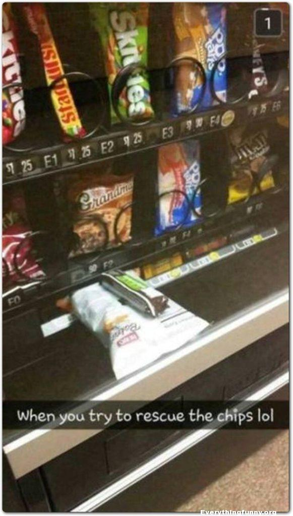 funny caption tried to get stuck potato chips out of vending machine with candy bar and they both got stuck