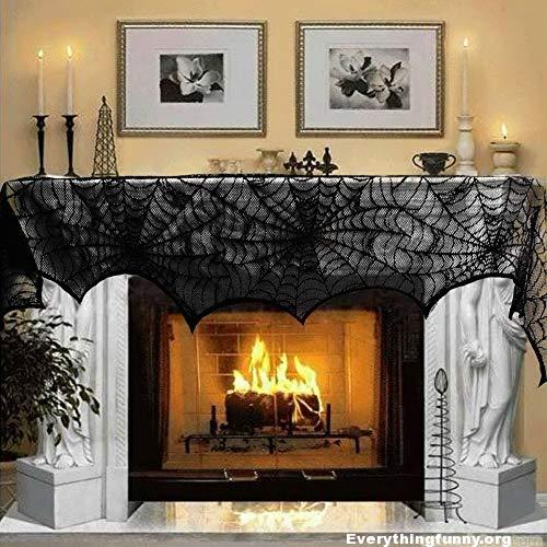 Halloween decorations decor party black lace spiderweb fireplace mantle scarf cover