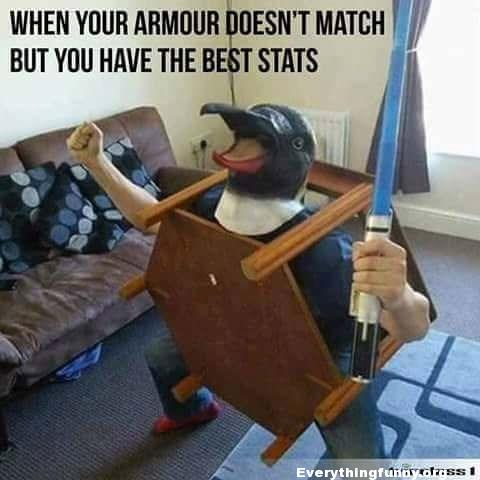 funny status, funny meme, funny caption, when your armor doesn't match but you have the best stats