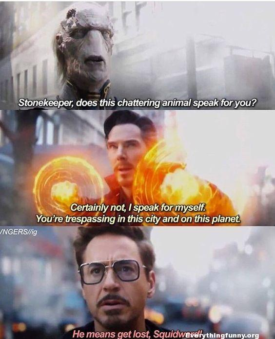 funny marvel memes, funny caption stonekeeper does this chattering animal speak for you? Certainly not I speak for myself you're trespassing in this city and planet tony stark he means get lost squidward