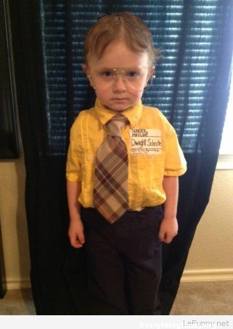 funny kid costume dwight shrute from the office, funny diy costumes, do it yourself costume ideas,