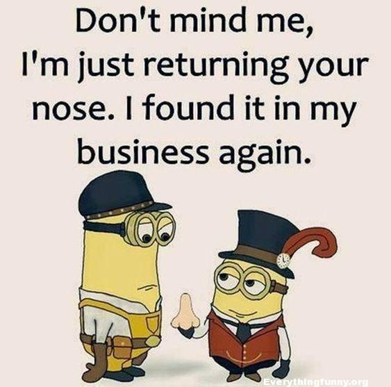 funny cartoon quote, funny quote don't mind me i'm just returning your nose. i found it in my business again.