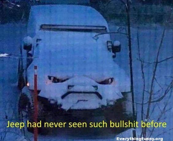 funny picture, things that look like other things funny jeep looks angry with snow on it