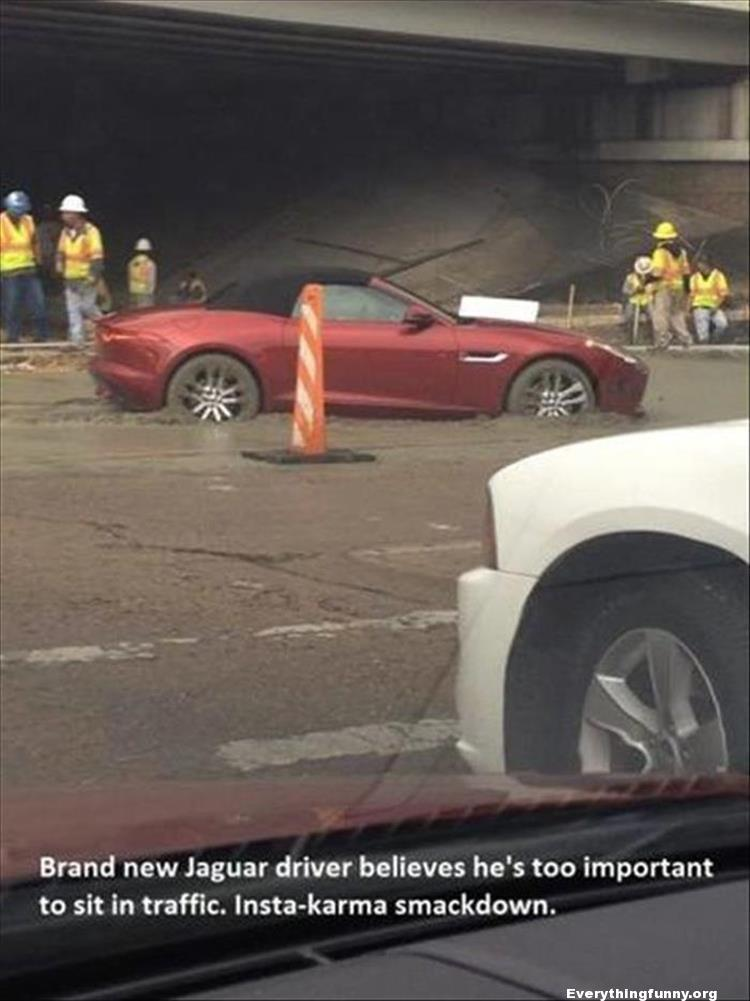 funny instant karma pictures brand new Jaguar driver believes he's too important to sit in traffic - get stuck trying to go around instant karma