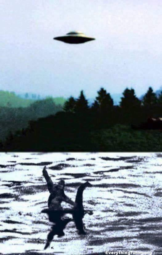 funny bigfoot riding the lochness monster giving the finger to a ufo
