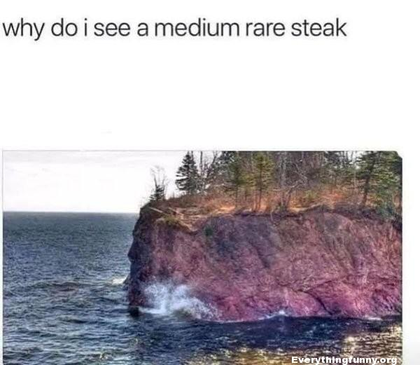 funny rock formation looks like rare steak