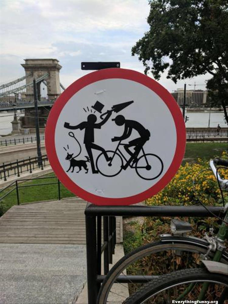funny street sign bicycle man dog umbrella memes