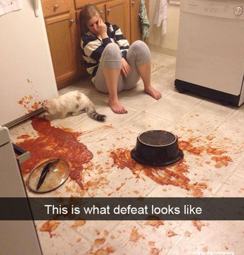 funny this is what defeat looks like drops entire pot of italian sauce gravy on the floor