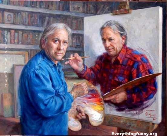 Painting Being Painted by the Painter Who is Painting It Optical Illusion
