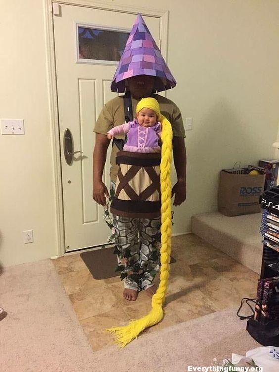 Dad plays Rapunzel tower to baby daughter halloween cosutme