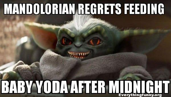 funny baby yoda memes, funny the child meme, best baby yoda memes, mandalorian regrets feeding baby yoda after midnight