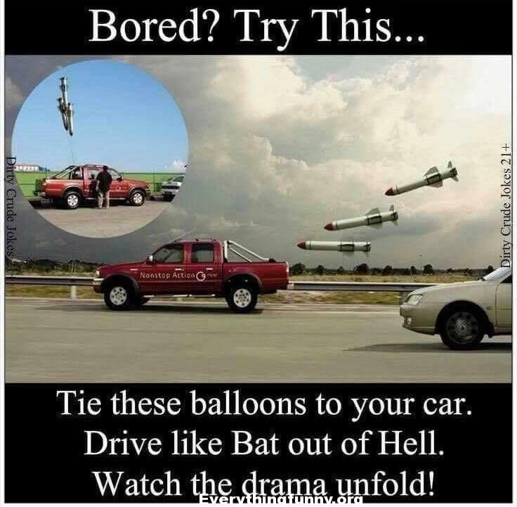 funny missile balloons tied to moving car looks like it is chasing it funny optical illusion, funny prank.