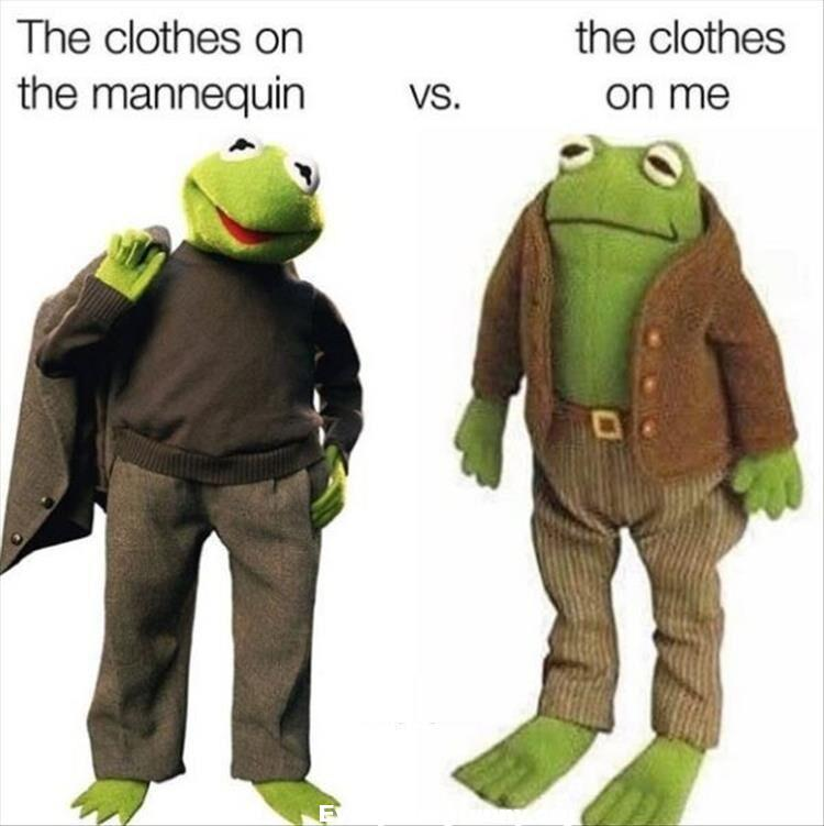 funny kermit meme, funny memes, funny relatables, the clothes on the mannequin vs. the clothes on me,