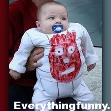 funny custom baby halloween costume white jumpsuit looks like volleyball with Wilson face from Castaway movie
