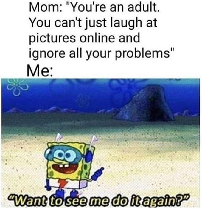funny meme, funny cartoon, funny post, funny status, mom you're an adult you can't just laugh at pictures online and ignore all you're problems spongebob want to see me do it again?