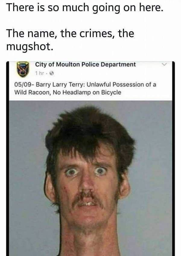 funny mugshot photo so much going on here funny name unlawful possession of a wild raccoon no headlamp on bicycle