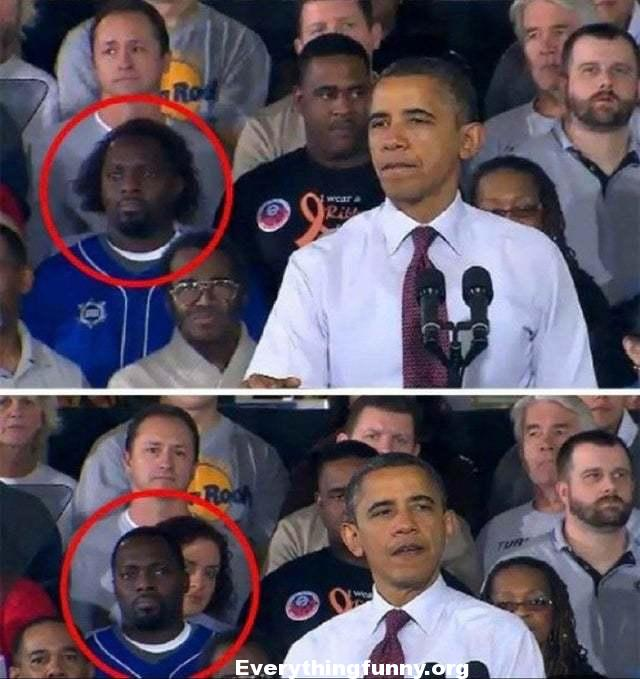 funny obama speech Funny Optical Illusion - Looks Like Man's Hair But It is Woman Behind Him