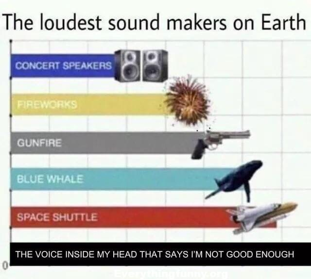 funny cartoon the loudest sound makers on Earth space shuttle voice inside my head that says I'm not good enough