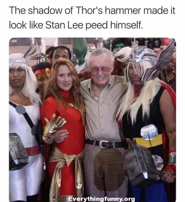 funny post funny status thors hammer in picture makes it look like Stan Lee peed himself funny optical illusion funny things that look like other things