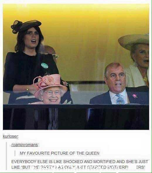 funny Queen Elizabeth pictures, everyone horrified shocked except Queen who is laughing