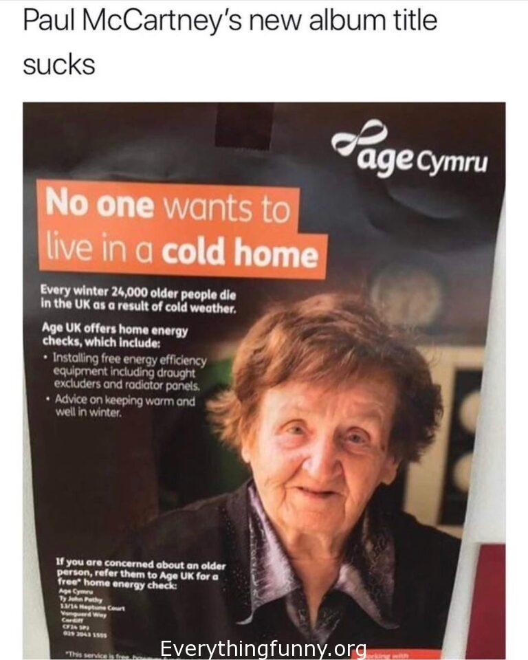 funny old lady in ad  looks like Paul MacCartney