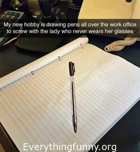 funny optical illusion, funny picture of pretend drawn pen on paper